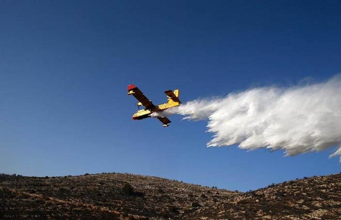 In recent days, firefighting planes from a list of countries could be seen flying low over the hills of the occupied West Bank and Israel dropping tonnes of water and retardants (AFP Photo/Ahmad Gharabli)