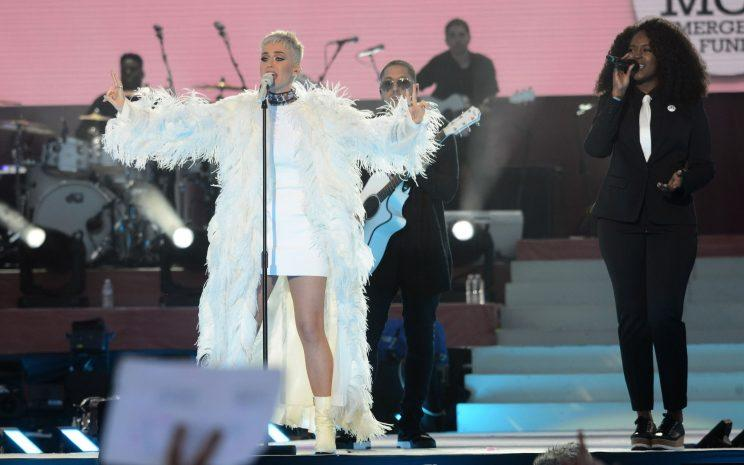 Katy Perry performs at the One Love Manchester tribute concert in Manchester. Photo: Dave Hogan via AP)