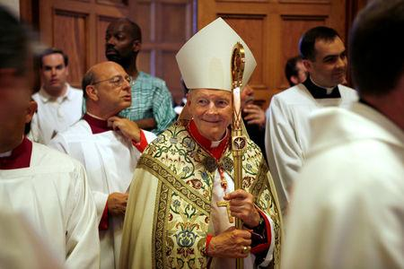 FILE PHOTO: Retired Cardinal Theodore McCarrick stands before the Mass of Installation for Archbishop Donald Wuerl at the Basilica of the National Shrine of the Immaculate Conception in Washington June 22, 2006.  REUTERS/Joshua Roberts/File Photo