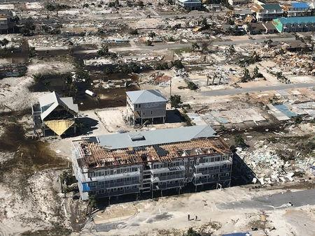 Damaged and destroyed buildings are seen during a post-Hurricane Michael flight over Mexico Beach