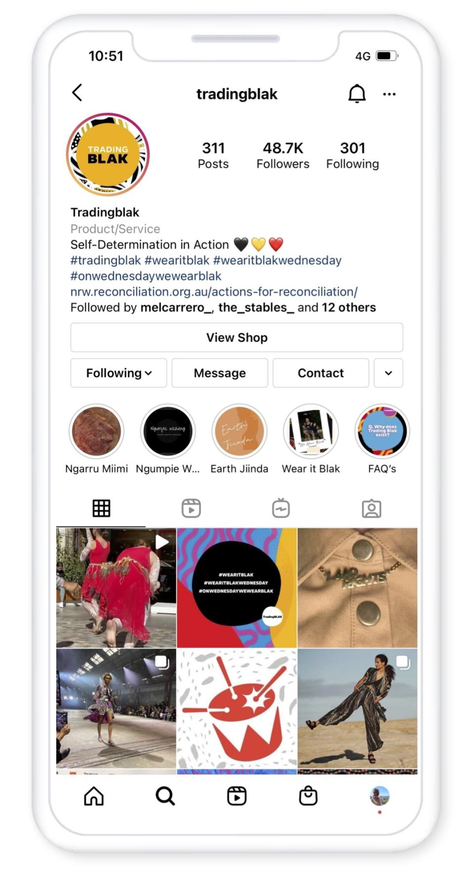 Trading Blak has a thriving Instagram following. (Image: Supplied).
