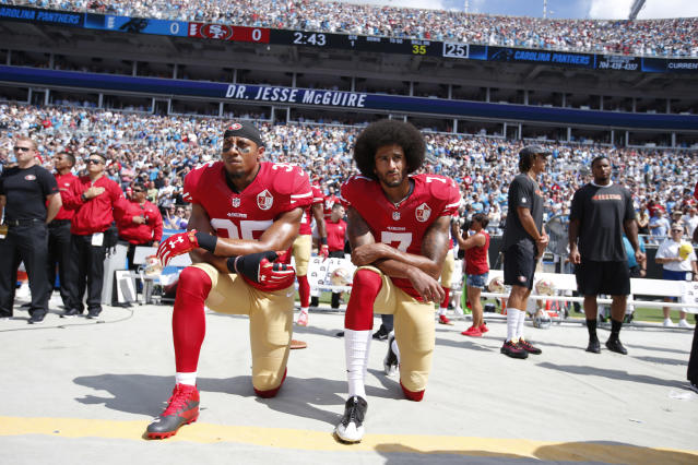 On Friday, the NFL announced that it had reached a settlement on the collusion grievance filed by former 49ers Colin Kaepernick and Eric Reid. (Getty Images)