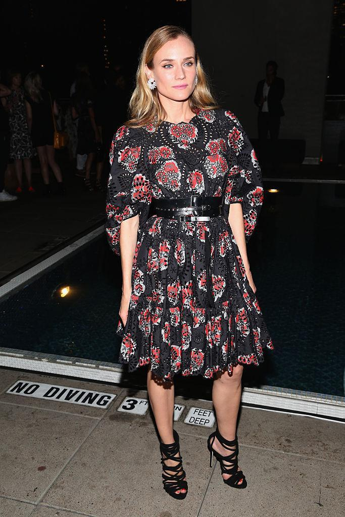 <p>This voluminous Alexander McQueen dress totally suits the German actress/model's boho style. <i>(Photo by Sylvain Gaboury/Patrick McMullan via Getty Images)</i></p>