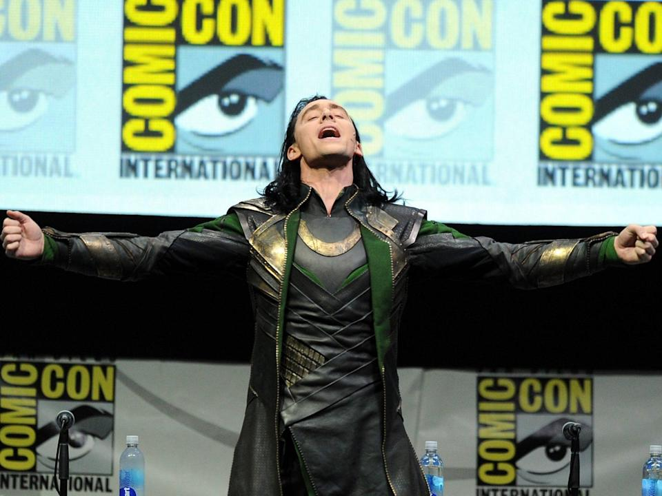 Tom Hiddleston appears in character as Loki at the San Diego Comic Con on 20 July 2013 (Getty)