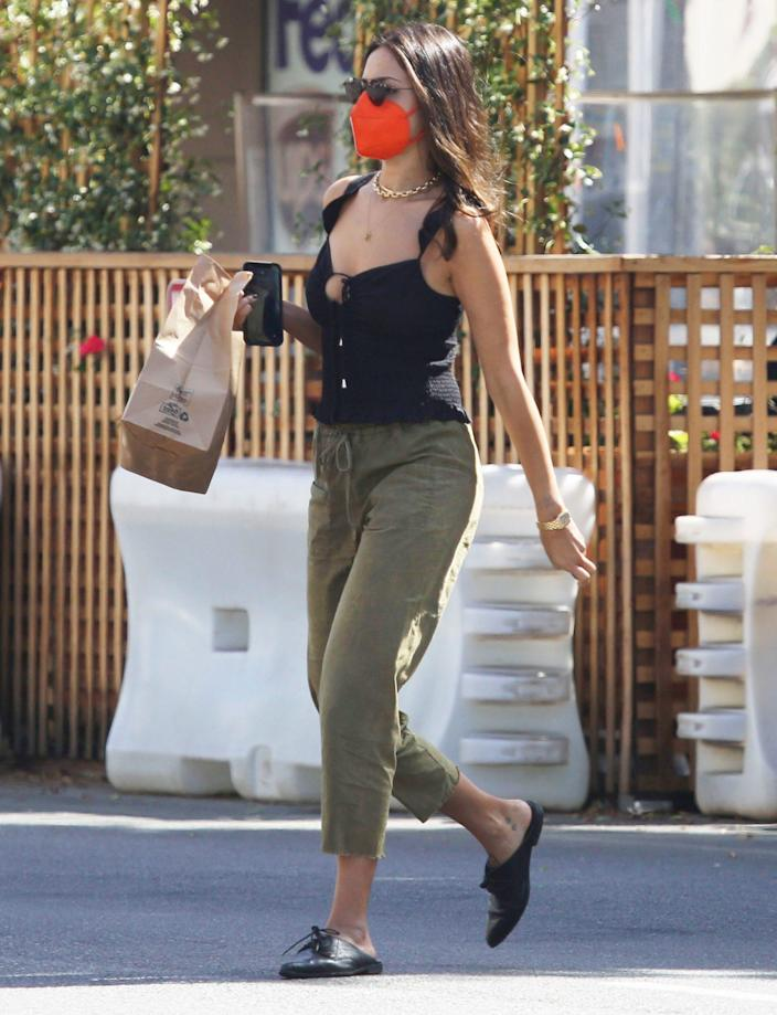 <p>Eiza Gonzalez grabs some takeout in L.A. on Tuesday. </p>