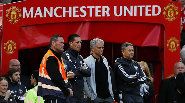 "Soccer Football - Premier League - Manchester United vs Watford - Old Trafford, Manchester, Britain - May 13, 2018 Manchester United manager Jose Mourinho with coaching staff after the match Action Images via Reuters/Jason Cairnduff EDITORIAL USE ONLY. No use with unauthorized audio, video, data, fixture lists, club/league logos or ""live"" services. Online in-match use limited to 75 images, no video emulation. No use in betting, games or single club/league/player publications. Please contact your account representative for further details."