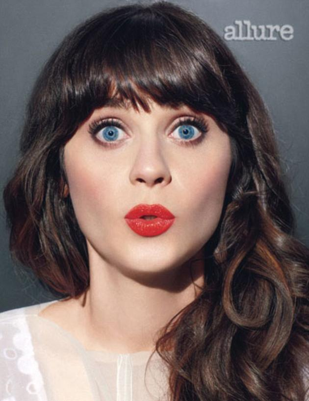 """Zooey Deschanel looked amazing in a photo-shoot for Allure magazine. The actress went onto reveal that she feels that her hairstyle defines her. """"Eyes and bangs is what I'm about,"""" she said. We have to say, we are loving her omg face!"""