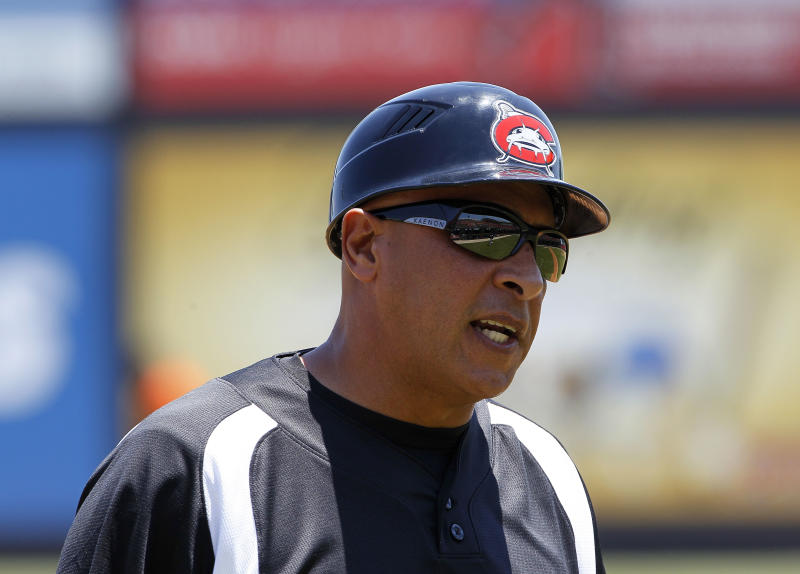 In this photo taken Wednesday, June 27, 2012, Carolina Mudcats manager Edwin Rodriguez speaks with a player during a minor league baseball game against the Frederick Keys in Zebulon, N.C. Rodriguez is a former manager of the Miami Marlins. (AP Photo/Gerry Broome)