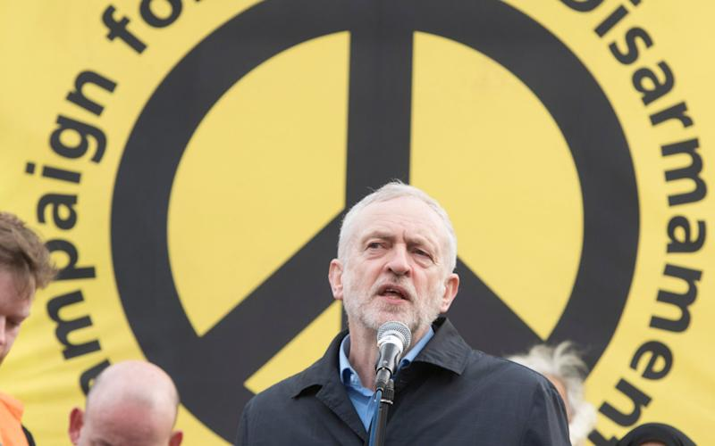 Labour leader Jeremy Corbyn at a Trident demonstration last year - Paul Grover