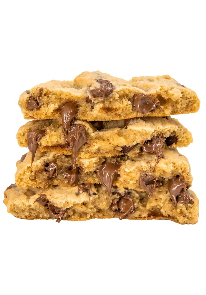 """<p>The bakery's offerings rotate weekly with favorites like rocky road and orange creamsicle, but its dreamy milk-chocolate-chip cookies are always on the menu.</p> <p><strong>Buy it!</strong> $11 for 4; <a href=""""https://crumblcookies.com/"""" rel=""""sponsored noopener"""" target=""""_blank"""" data-ylk=""""slk:crumblcookies.com"""" class=""""link rapid-noclick-resp"""">crumblcookies.com</a></p>"""