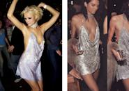 <p>For her 21st birthday in early November, Kendall Jenner slipped into exactly the same (very revealing) dress that socialite Paris Hilton wore for her 21st birthday bash in London. Boasting a backless design, a plunging bodice and a very short hemline, it certainly was a risk to wear on a potentially drunken night out! <i>[Photo: Rex/Instagram]</i></p>