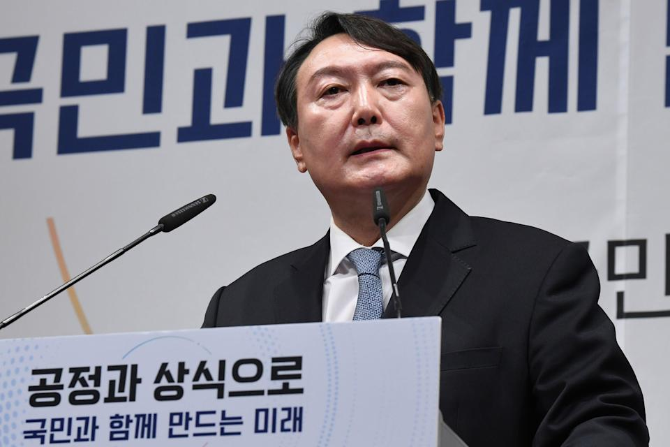Yoon Suk Yeol speaks to declare his bid for presidency for next year's election  (AP)