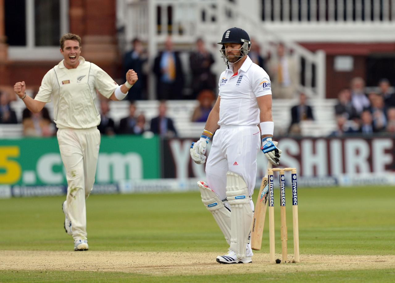 New Zealand's Tim Southee (left) taking the wicket of England's Matt Prior for 0 during the first test at Lord's Cricket Ground, London.