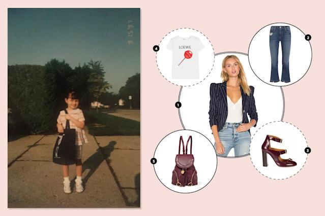 """<p>I wore a mix of offensive neon jean shorts and graphic T-shirts as a '90s kid. Luckily, I outgrew the neon and kept the good bits: a love for denim and cheeky tees. —<em>Alexandra Mondalek, Yahoo Style fashion features writer</em><br><br><a href=""""https://www.net-a-porter.com/us/en/product/892120/frame/le-crop-mini-boot-distressed-mid-rise-flared-jeans"""" rel=""""nofollow noopener"""" target=""""_blank"""" data-ylk=""""slk:Le Crop mini boot distressed mid-rise flared jeans, $245"""" class=""""link rapid-noclick-resp""""><span>Le Crop mini boot distressed mid-rise flared jeans, $245</span></a><br><a href=""""http://www.revolve.com/smythe/br/f2df94/?srcType=dp_des2"""" rel=""""nofollow noopener"""" target=""""_blank"""" data-ylk=""""slk:Smythe pinstripe blazer"""" class=""""link rapid-noclick-resp""""><span>Smythe pinstripe blazer</span></a><span>, </span><a href=""""http://www.revolve.com/smythe-pouf-sleeve-one-button-blazer-in-navy-pinstripe/dp/SMYT-WO162/?d=F¤cy=USD&mkwid=%7Bifsearch:s%7D%7Bifcontent:c%7D_dc%7Cpcrid%7C114237047411%7Cpkw%7C%7Cpmt%7C&pdv=c&matchtype=&gclid=EAIaIQobChMIhL3O3OCz1QIVk1YNCh3BbQPFEAQYASABEgJKAfD_BwE"""" rel=""""nofollow noopener"""" target=""""_blank"""" data-ylk=""""slk:$695"""" class=""""link rapid-noclick-resp""""><span>$695</span></a><br><a href=""""http://www.saksfifthavenue.com/main/ProductDetail.jsp?FOLDER%3C%3Efolder_id=2534374306624262&PRODUCT%3C%3Eprd_id=845524447111361&R=3610928072750&P_name=Chlo%26%23233%3B&N=306624262&bmUID=lSi53sn"""" rel=""""nofollow noopener"""" target=""""_blank"""" data-ylk=""""slk:Chloe Multi-Strap patent leather pumps, $880"""" class=""""link rapid-noclick-resp"""">Chloe Multi-Strap patent leather pumps, $880</a><br><a href=""""https://www.net-a-porter.com/us/en/product/914646/loewe/printed-stretch-cotton-jersey-t-shirt"""" rel=""""nofollow noopener"""" target=""""_blank"""" data-ylk=""""slk:Loewe printed white T-shirt, $325"""" class=""""link rapid-noclick-resp""""><span>Loewe printed white T-shirt, $325</span></a><br><br><a href=""""https://www.net-a-porter.com/us/en/product/892185/see_by_chloe/olga-small-textured-leather-backpack"""" rel=""""nofollo"""