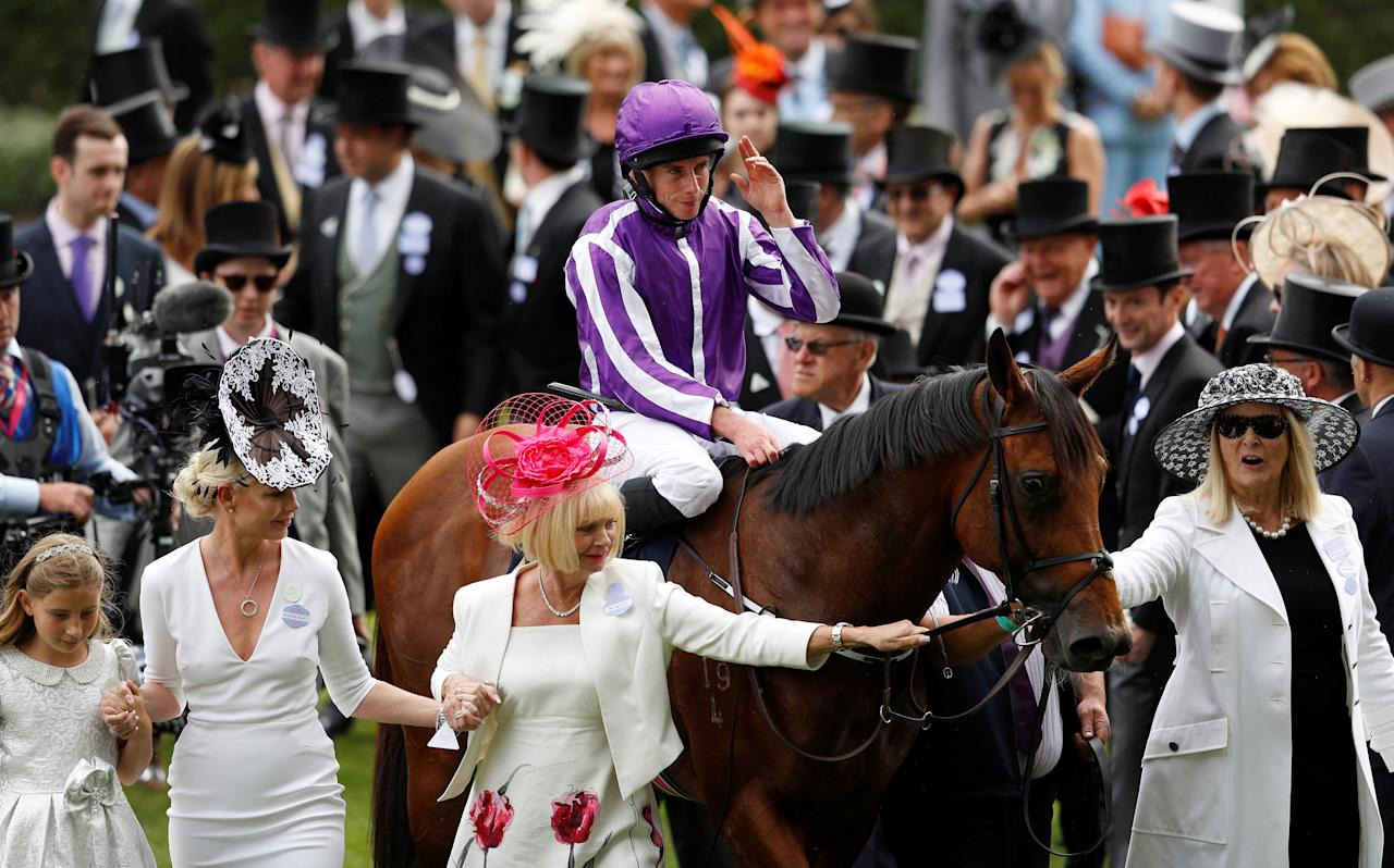 Horse Racing - Royal Ascot - Ascot Racecourse, Ascot, Britain - June 23, 2018   Ryan Moore celebrates winning the 4.20 Diamond Jubilee Stakes on Merchant Navy   REUTERS/Peter Nicholls