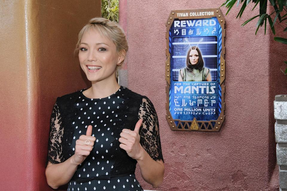 <p>Fresh off her debut as a Guardian in <em>Vol. 2</em>, the actress's character Mantis plays a key role in the ride's story: getaway pilot. (Joshua Sudock/Disneyland Resort) </p>