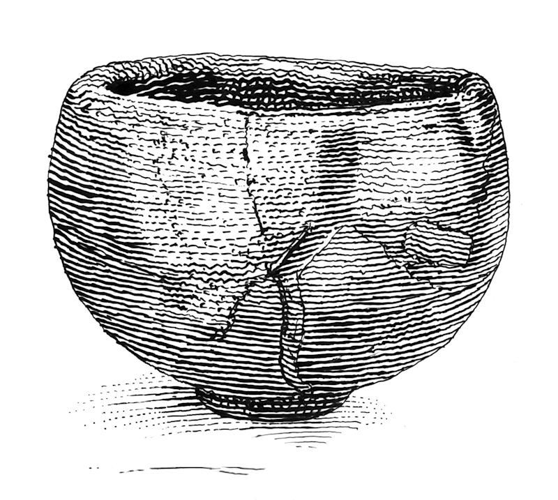 """Seppo (""""Snow Peaks""""), a legendary 17th-century Japanese tea bowl poetically named for the evocative shape of the highlighted cracks in its artful repair. Adamson writes of the Japanese art of kintsugi, which uses gold in such repairs to symbolize the inherent value in beloved, well-used objects."""