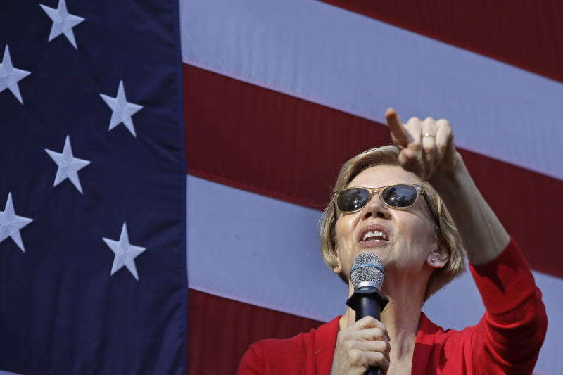Democratic presidential candidate Sen. Elizabeth Warren, D-Mass., speaks at a campaign event at Dartmouth College, Thursday, Oct. 24, 2019, in Hanover, N.H. (AP Photo/Elise Amendola)