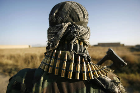 An Afghan National Army soldier keeps watch shortly in the Taliban stronghold of Kolk in Zahri district, Kandahar province, November 15, 2007. REUTERS/Finbarr O'Reilly