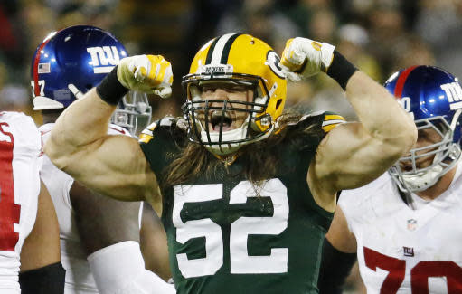 FILE - This is an Oct. 9, 2016, file photo showing Green Bay Packers' Clay Matthews celebrating a sack of New York Giants quarterback Eli Manning during the second half of an NFL football game, in Green Bay, Wis. Matthews might be working under a new defensive coordinator this spring with the Green Bay Packers, but his role hasn't changed. (AP Photo/Mike Roemer, File)