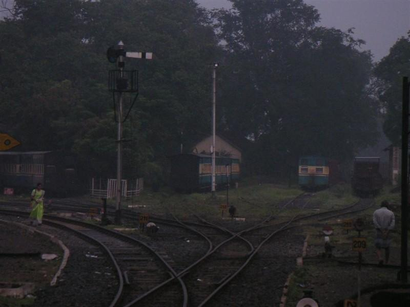 A view of the sidings at Mettupalayam for the Nilgiri Mountain Railway. The ones for broad gauge are on the right. The NMR track is 1000 mm (3 ft and 3 3/8 inches) wide.