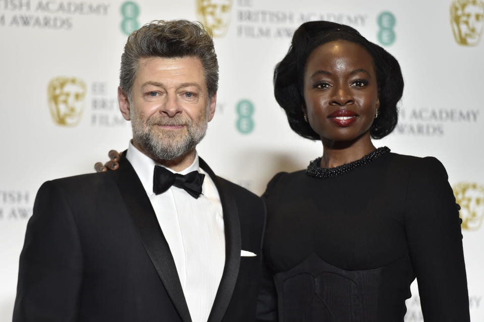 British actor Andy Serkis and US actress Danai Gurira in the press room during the 72nd annual British Academy Film Awards (Credit: EFE/EPA/NIK HALLEN)
