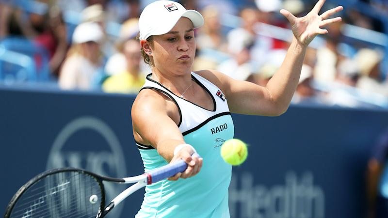 Ash Barty, pictured here in action at the Cincinnati Masters.