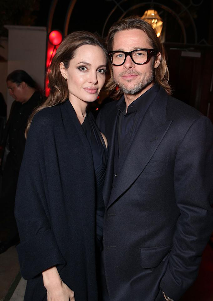 "<a href=""http://movies.yahoo.com/movie/contributor/1800019275"">Angelina Jolie</a> and <a href=""http://movies.yahoo.com/movie/contributor/1800018965"">Brad Pitt</a> at the Los Angeles premiere of <a href=""http://movies.yahoo.com/movie/1810186173/info"">In the Land of Blood and Honey</a> on December 8, 2011."