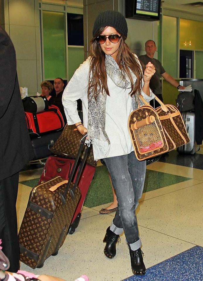 "Ashley Tisdale was photographed making her way through New York's JFK International Airport with her furry friend Maui and Louis Vuitton luggage in tow. Jackson Lee/<a href=""http://www.splashnewsonline.com/"" target=""new"">Splash News</a> - September 6, 2010"