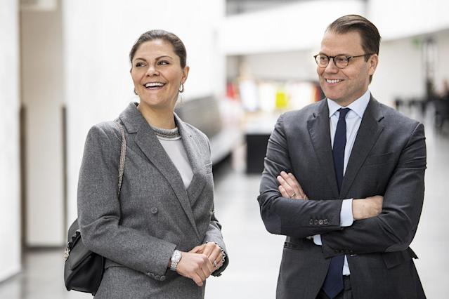 <p>Princess Victoria and Prince Daniel of Sweden visit the KTH Royal Institute of Technology to get updates on research for a coronavirus test on Wednesday in Stockholm.</p>
