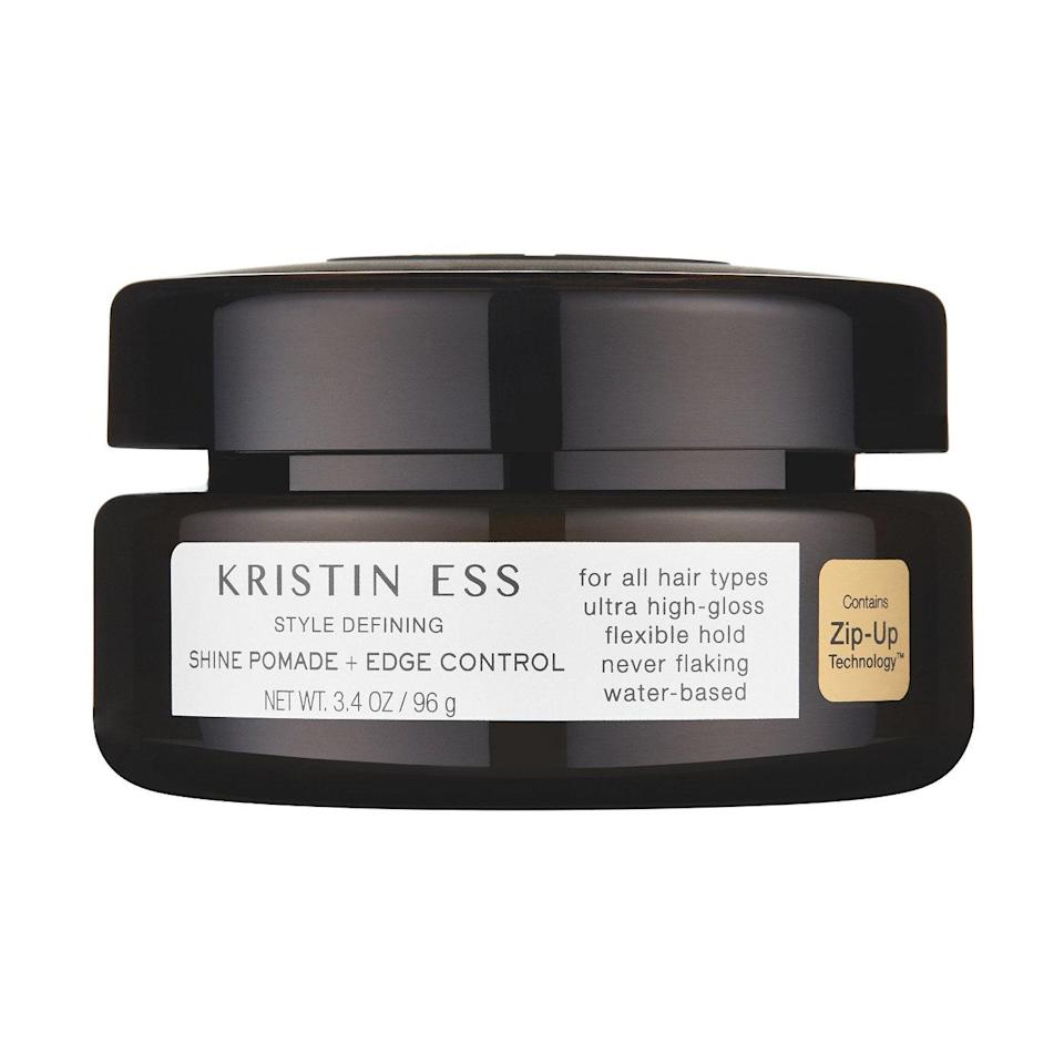 """<p>Count on Kristin Ess to bless us <a href=""""https://www.allure.com/story/kristin-ess-rose-gold-temporary-tint-pink-hair-review-photos?mbid=synd_yahoo_rss"""" rel=""""nofollow noopener"""" target=""""_blank"""" data-ylk=""""slk:with an affordable gem"""" class=""""link rapid-noclick-resp"""">with an affordable gem</a> — in cute packaging to boot. Give the Shine Pomade + Edge Control a whirl when you want a really sleek ponytail. Its water-based formula makes it easy to rinse out without damaging your hair.</p> <p><strong>$10</strong> (<a href=""""https://shop-links.co/1633957738969516698"""" rel=""""nofollow noopener"""" target=""""_blank"""" data-ylk=""""slk:Shop Now"""" class=""""link rapid-noclick-resp"""">Shop Now</a>)</p>"""