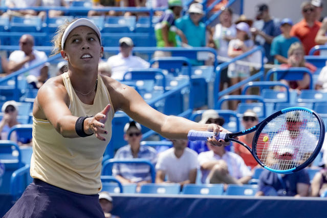 Madison Keys reacts against Svetlana Kuznetsova, of Russia, in the women's final match during the Western & Southern Open tennis tournament, Sunday, Aug. 18, 2019, in Mason, Ohio. (AP Photo/John Minchillo)