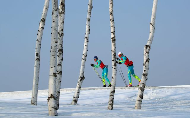 Cross-Country Skiing - Pyeongchang 2018 Winter Olympics - Men's 50km Mass Start Classic Training - Alpensia Cross-Country Skiing Centre - Pyeongchang, South Korea - February 23, 2018 - Athletes from team Kazakhstan train. REUTERS/Carlos Barria
