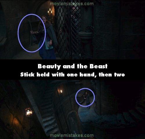 "<p>When Belle finds her father locked up she's holding her stick with one hand, then the angle changes and she's using both. We switch back and she's using one hand again.<br> (<a href=""https://www.moviemistakes.com/"" rel=""nofollow noopener"" target=""_blank"" data-ylk=""slk:MovieMistakes.com"" class=""link rapid-noclick-resp"">MovieMistakes.com</a>) </p>"