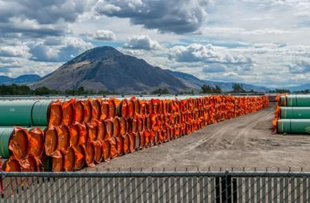 Steel pipe for Canadian government's Trans Mountain Expansion Project lies at a stockpile site in Kamloops