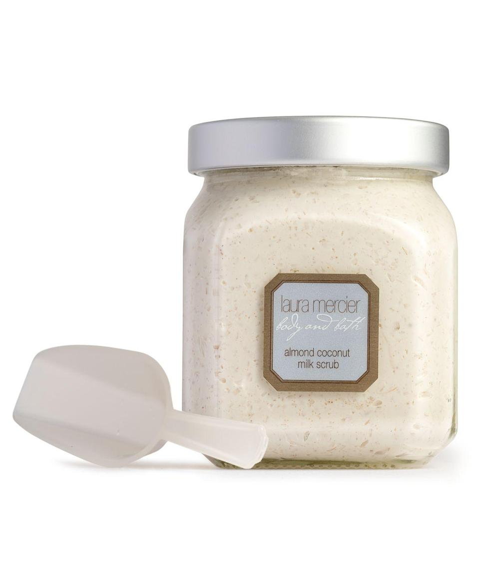 "<h2>Laura Mercier Almond Coconut Milk Scrub</h2> <br>Dessert in the shower doesn't sound so crazy when this exfoliating scrub is on the menu. The formula is basically a sweet treat in a jar with macadamia nut, sweet almond oil, and vanilla extract. Vitamins A and E in the mixture will lightly moisturize skin without making the bathtub slippery.<br><br><strong>Laura Mercier</strong> Almond Coconut Milk Scrub, $, available at <a href=""https://go.skimresources.com/?id=30283X879131&url=https%3A%2F%2Fwww.macys.com%2Fshop%2Fproduct%2Flaura-mercier-almond-coconut-milk-scrub-12-oz.%3FID%3D329575%26CategoryID%3D30078"" rel=""nofollow noopener"" target=""_blank"" data-ylk=""slk:Macy's"" class=""link rapid-noclick-resp"">Macy's</a><br>"