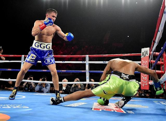Gennady Golovkin knocks down Dominc Wade for the second time on the way to a second round TKO during his unified middleweight title fight in Inglewood, California (AFP Photo/Harry How)