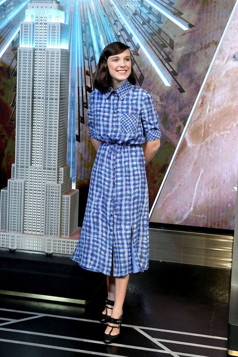 <p>Dorothy is SHAKING. Millie rocked the iconic print, but with her own personal flare: Mary Jane heels and a prim pink lip.</p>