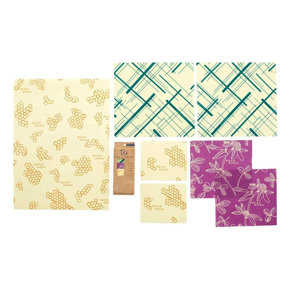 """Bee's Wrap wrapping paper is the Millennial-friendly (and <a href=""""https://www.glamour.com/gallery/best-reusable-prodcuts?mbid=synd_yahoo_rss"""" rel=""""nofollow noopener"""" target=""""_blank"""" data-ylk=""""slk:eco-friendly"""" class=""""link rapid-noclick-resp"""">eco-friendly</a>!) swap for cling film and aluminum foil. Plus, the colorful patterns make them ideal for gifting. $42, Amazon. <a href=""""https://www.amazon.com/Bees-Wrap-Friendly-Reusable-Sustainable/dp/B01N816PDD?"""" rel=""""nofollow noopener"""" target=""""_blank"""" data-ylk=""""slk:Get it now!"""" class=""""link rapid-noclick-resp"""">Get it now!</a>"""