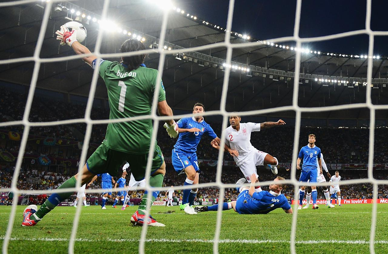 KIEV, UKRAINE - JUNE 24: Gianluigi Buffon of Italy makes a save during the UEFA EURO 2012 quarter final match between England and Italy at The Olympic Stadium on June 24, 2012 in Kiev, Ukraine.  (Photo by Laurence Griffiths/Getty Images)