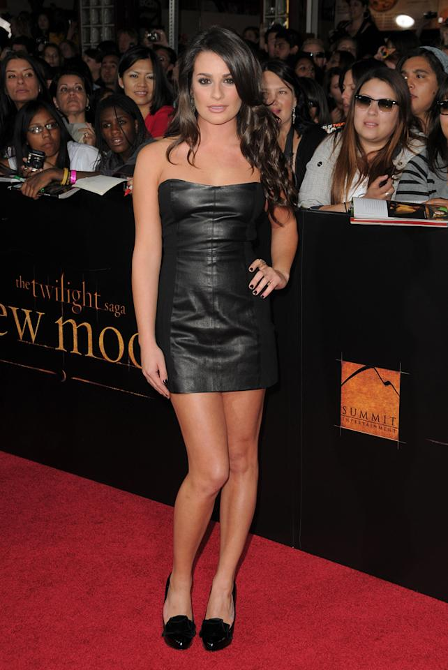 "Lea Michele arrives at the Los Angeles premiere of Summit Entertainment's ""The Twilight Saga: New Moon"" at Mann Westwood on November 16, 2009 in Westwood, California."