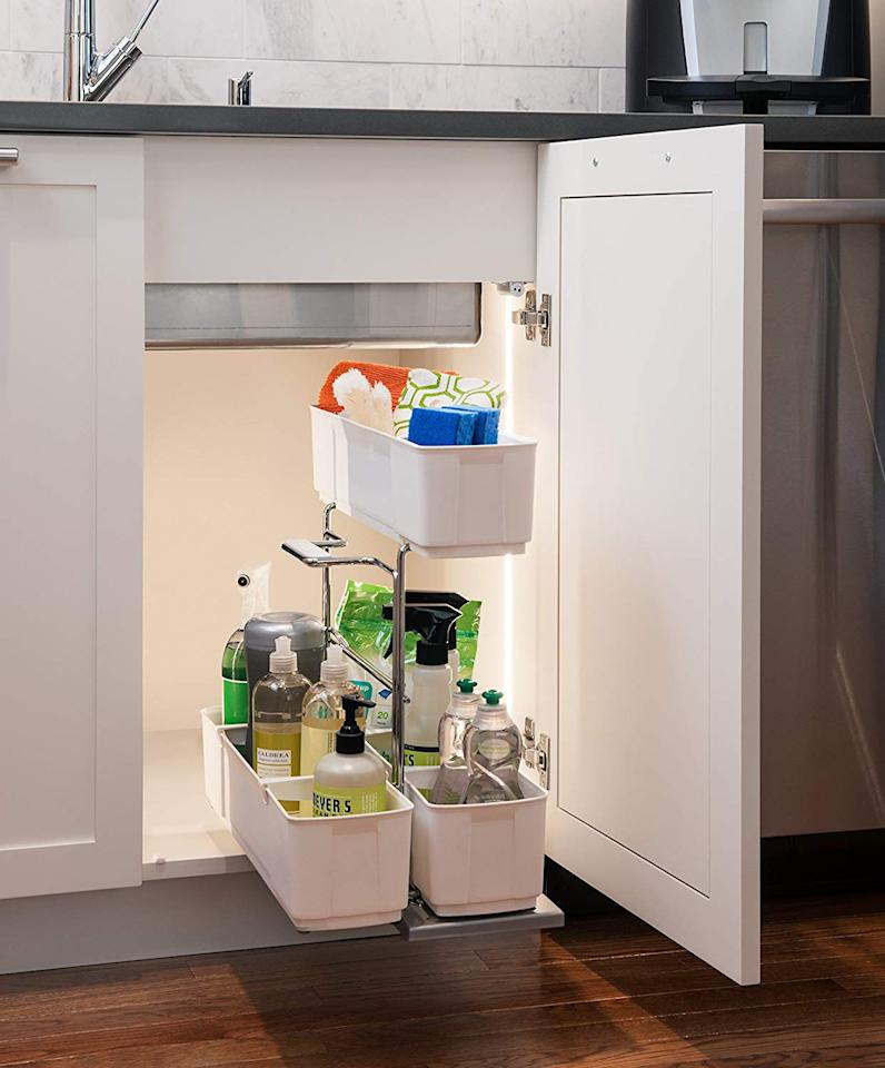 "<p><strong>Clever Storage by Kesseboehmer</strong></p><p>amazon.com</p><p><strong>$67.95</strong></p><p><a rel=""nofollow"" href=""https://www.amazon.com/dp/B00STPM3B2"">BUY NOW</a></p><p>This organizer attaches to the cabinet floor so you can easily slide the whole thing in and out-plus, the side caddy detaches, so you can easily take it and its contents with you when needed.</p>"