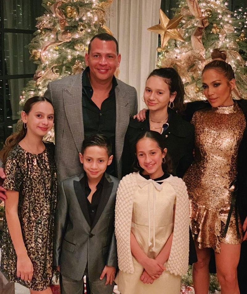 Alex Rodriguez and Jennifer Lopez with their children