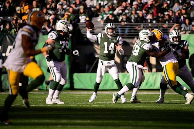 Sam Darnold offered a glimpse into his potential in a duel with Aaron Rodgers in Week 16. (Photo by Steven Ryan/Getty Images)