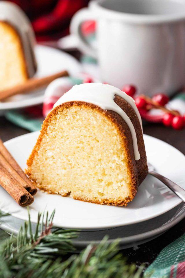 "<p>You can never go wrong with a bundt cake—especially one that's filled with eggnog and rum. </p><p><strong>Get the recipe at <a href=""https://platedcravings.com/eggnog-cake/"" target=""_blank"">Plated Cravings</a>.</strong></p><p><strong><a class=""body-btn-link"" href=""https://www.amazon.com/Nordic-Ware-Platinum-Collection-Anniversary/dp/B00004RFQ4?tag=syn-yahoo-20&ascsubtag=%5Bartid%7C10050.g.2754%5Bsrc%7Cyahoo-us"" target=""_blank"">Shop bundt pans</a><br></strong></p>"