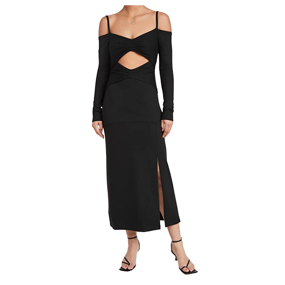 """If you prefer non-traditional styles, we've got you covered with this cutout midi dress. With a spaghetti strap detail, exposed midriff, and a slit bottom, it's totally chic <em>and</em> playful. $345, Amazon. <a href=""""https://www.amazon.com/Alexis-Womens-Elisabet-Dress-Medium/dp/B0979LRQHR"""" rel=""""nofollow noopener"""" target=""""_blank"""" data-ylk=""""slk:Get it now!"""" class=""""link rapid-noclick-resp"""">Get it now!</a>"""