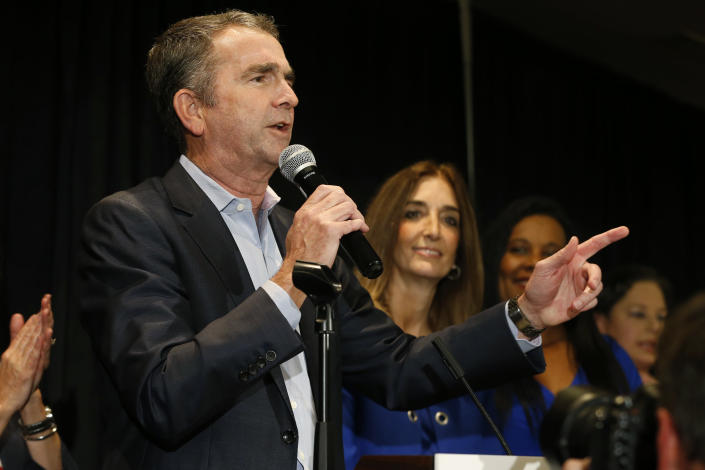 Virginia Gov. Ralph Northam speaks to supporters at a Democratic election party in Richmond, Va., Tuesday, Nov. 5, 2019. All seats in the Virginia House of Delegates and State Senate are up for election. (AP Photo/Steve Helber)