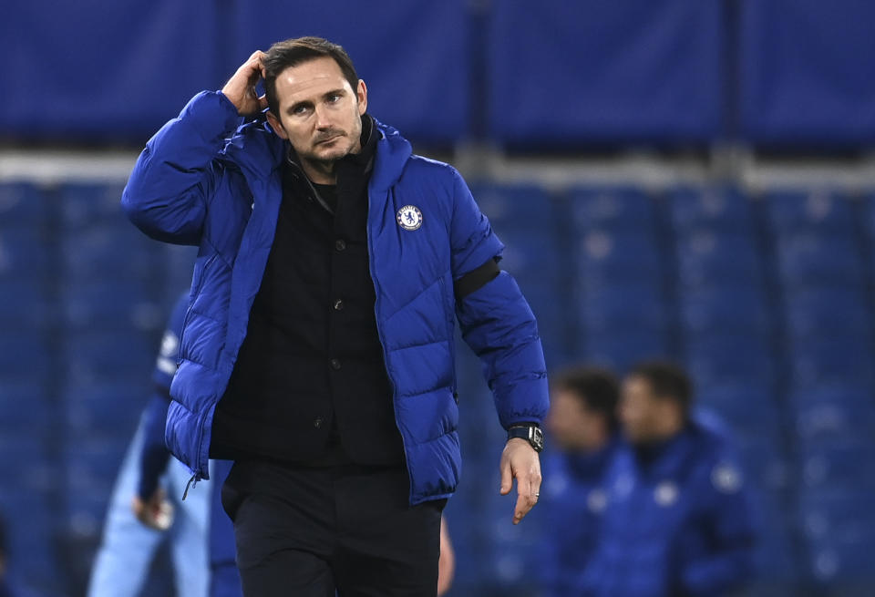 Frank Lampard is the latest Big Six manager whose fortunes have changed seemingly overnight. (Andy Rain/Pool via AP)