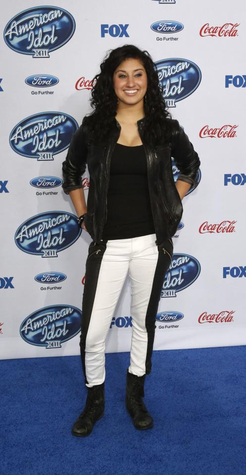 "Contestant Jena Irene poses at the party for the finalists of ""American Idol XIII"" in West Hollywood, California February 20, 2014. REUTERS/Mario Anzuoni (UNITED STATES - Tags: ENTERTAINMENT)"