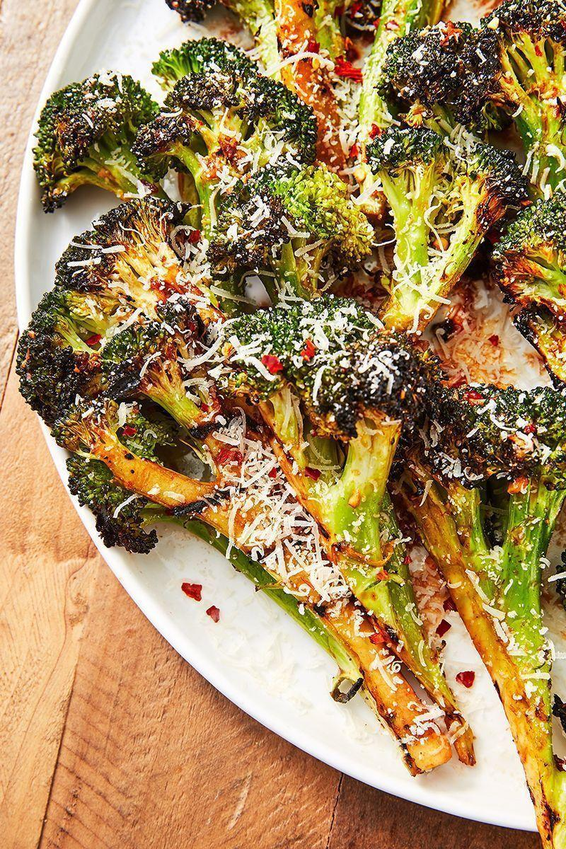 """<p>Seasoned with a little soy sauce, honey, Worcestershire, and ketchup, this side dish guaranteed to satisfy even the most carnivorous of eaters. </p><p>Get the <a href=""""https://www.delish.com/uk/cooking/recipes/a32399266/grilled-broccoli-recipe/"""" rel=""""nofollow noopener"""" target=""""_blank"""" data-ylk=""""slk:Grilled Broccoli"""" class=""""link rapid-noclick-resp"""">Grilled Broccoli</a> recipe.</p>"""
